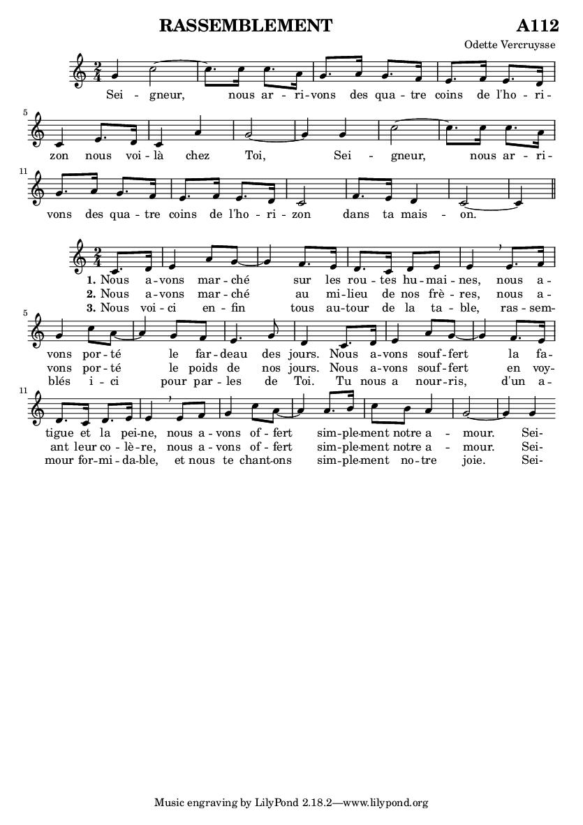partition chant rassemblement a112